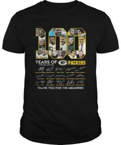 100 years of Green Bay Packers thank you for the memories signature shirt