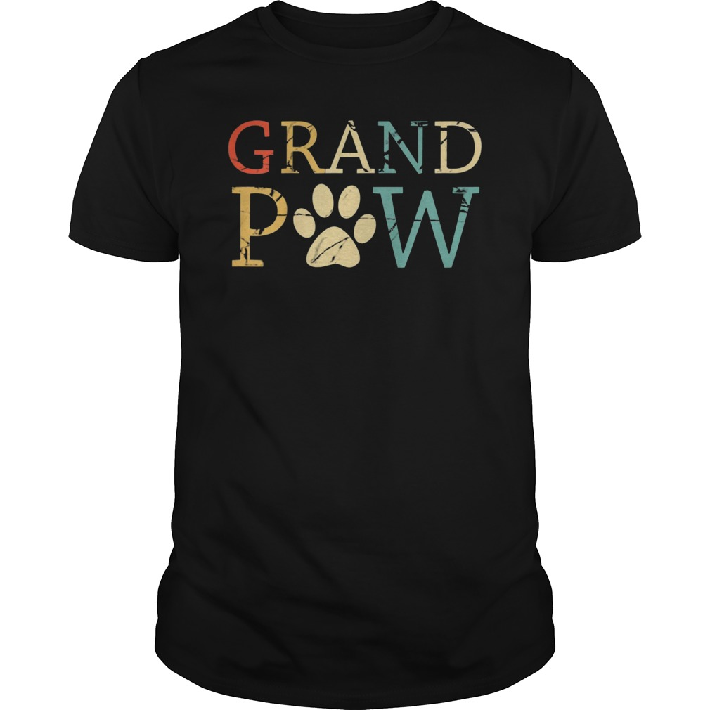 913a3f8bf7c7 Funny Dog Shirt Grand Paw Doggy Puppy Lover Grandpa Vintage ...