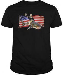 Washington Riding Shark T Shirt Funny July 4th American Flag T-Shirt