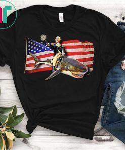Washington Riding Shark T-Shirt Funny July 4th American Flag Shirt