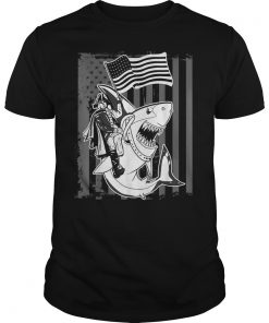 Washington Riding Shark T Shirt Funny July 4th American Tee