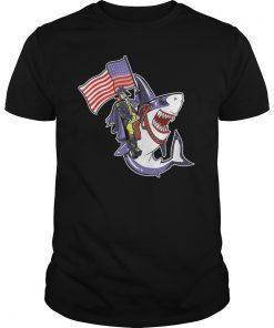 Washington Riding Shark Tee Shirt Funny July 4th American Flag