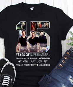 15 years of supernatural 2005 2020 15 seasons 327 episodes signatures shirt