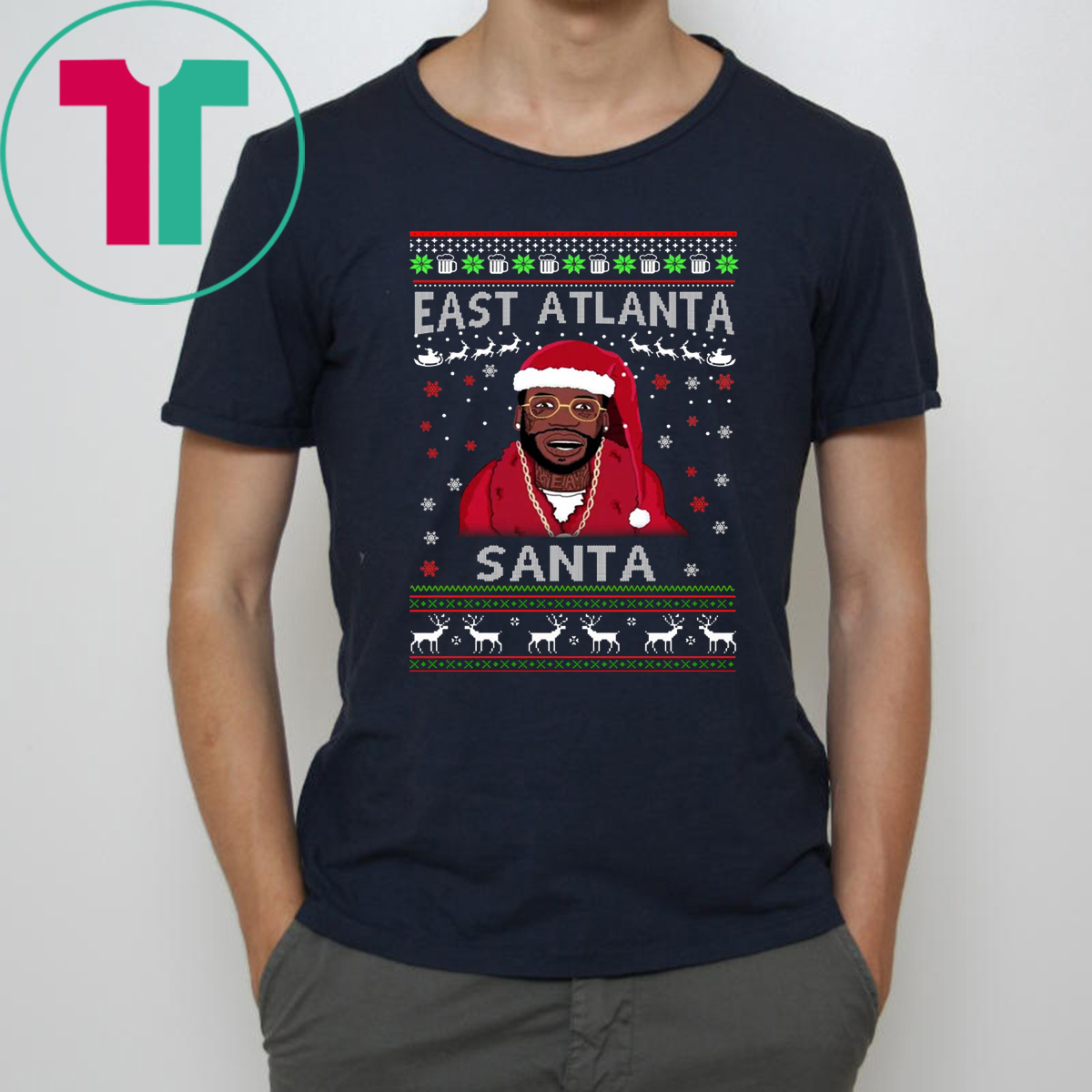 Gucci Mane Christmas.Gucci Mane East Atlanta Santa Christmas Sweater Tee Shirt