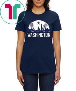 Washington DC Baseball Hometown Skyline National Vintage Tee Shirt