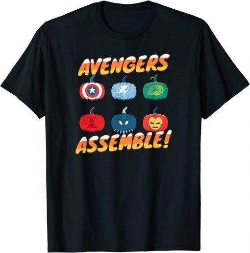 Marvel Avengers Assemble Pumpkin Heroes Halloween Funny T-Shirt